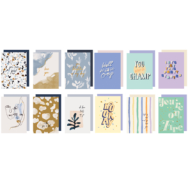Set 12 Greeting cards - QUOTES & ABSTRACT