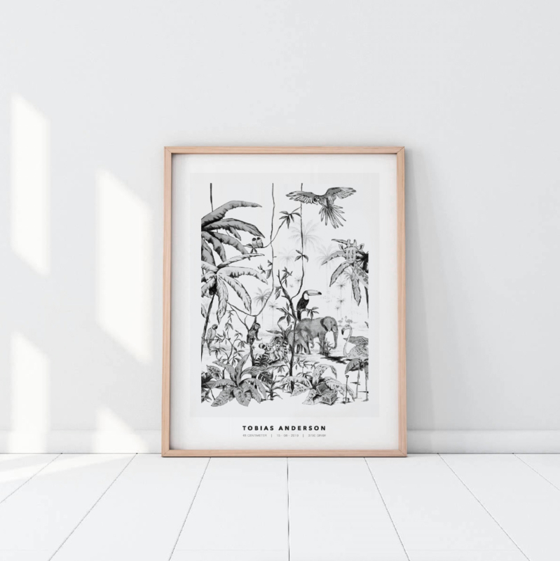 Gepersonaliseerde Poster - Jungle zwart/wit