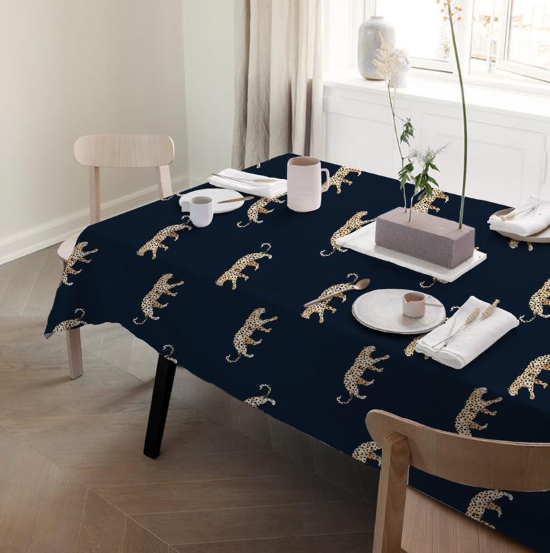 Tafelkleed - LEOPARD navy