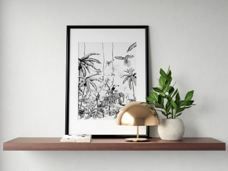 Poster - JUNGLE Black/White  - A5, A4, A3, A2