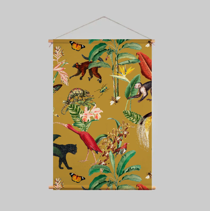 Textielposter - KINGDOM ANIMALIA ochre gold