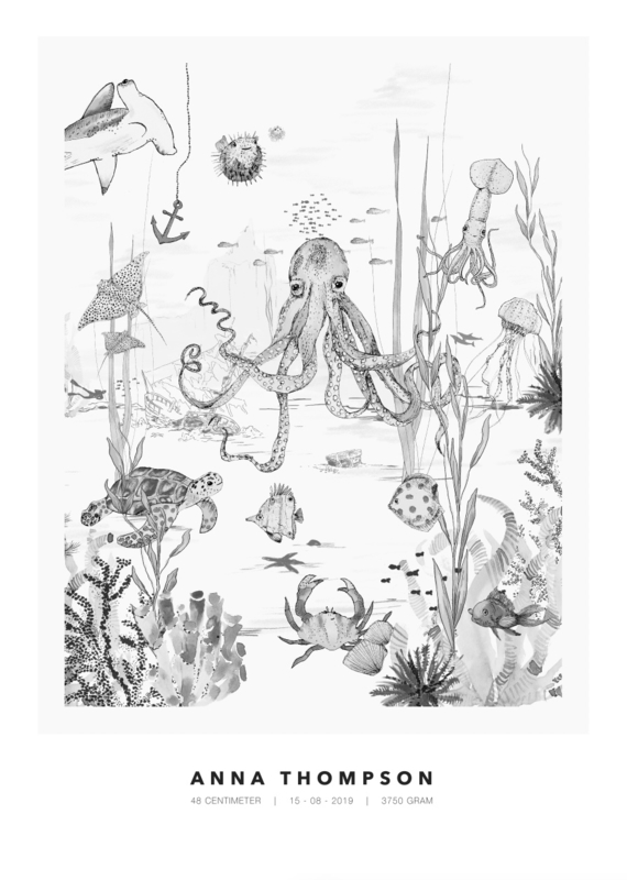 Gepersonaliseerde Poster - Underwater World zwart/wit