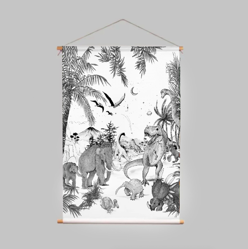 Textile Poster - PREHISTORIC black/white