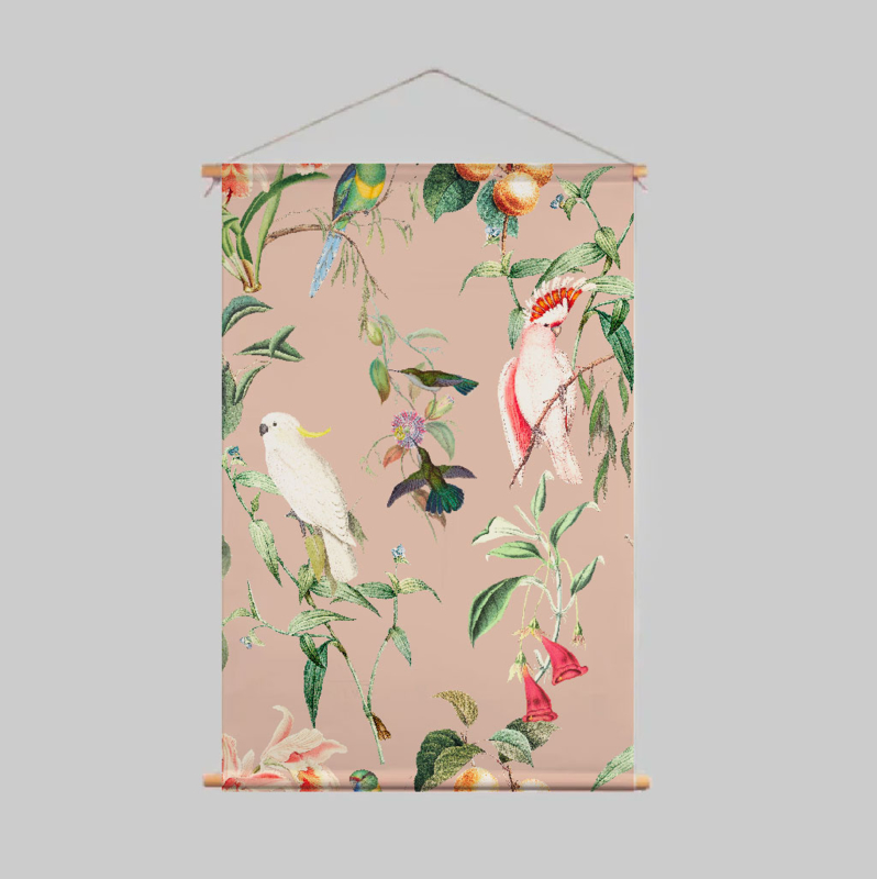 Textielposter - BIRDS OF PARADISE peach blush