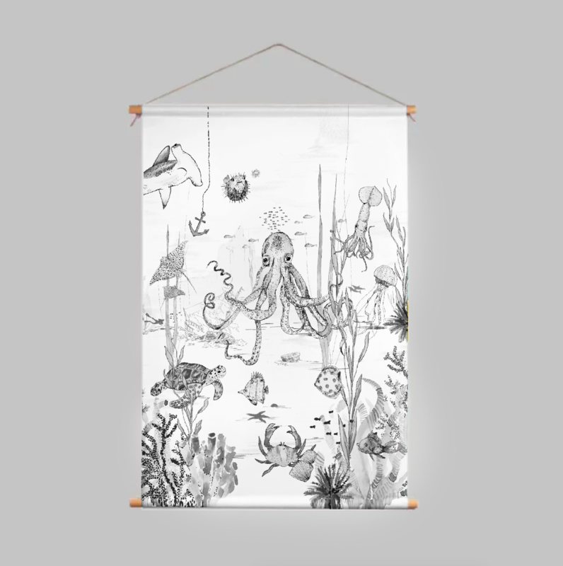 Textile Poster - UNDERWATER WONDERS black/white