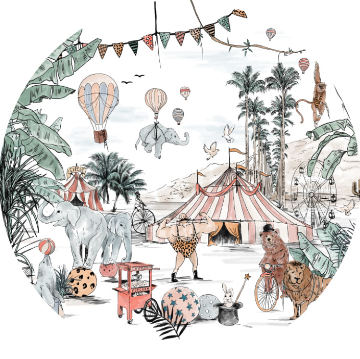 Ronde wandsticker Cirque du Fantasy
