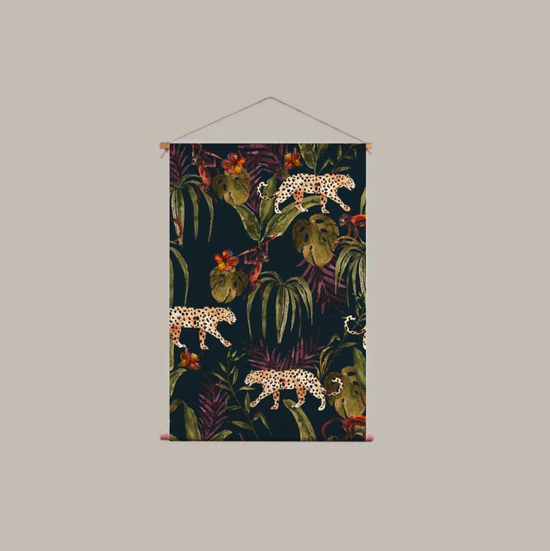 Textielposter - MONKEY BUSINESS DARK