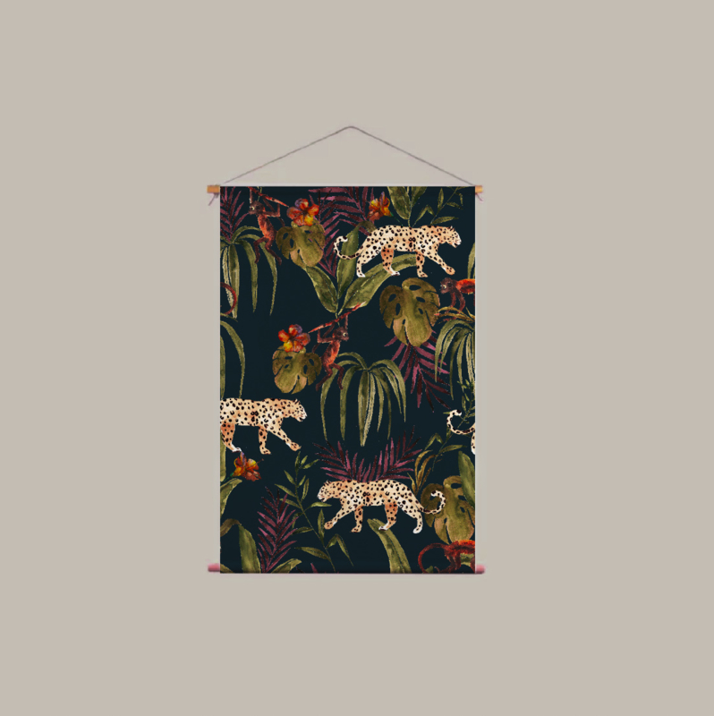 Textile Poster - MONKEY BUSINESS DARK