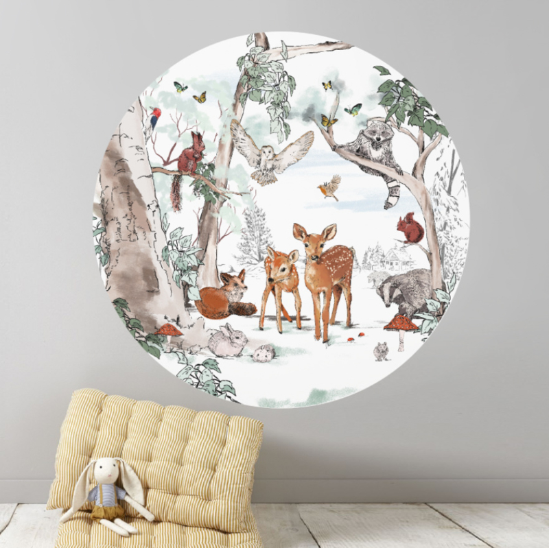 Round wall sticker - Magical Forest