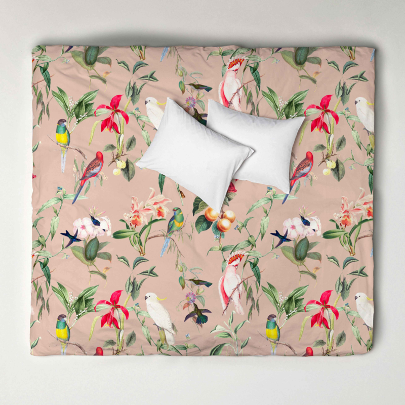 Dekbedovertrek set BIRDS OF PARADISE peach blush - 2 persoons