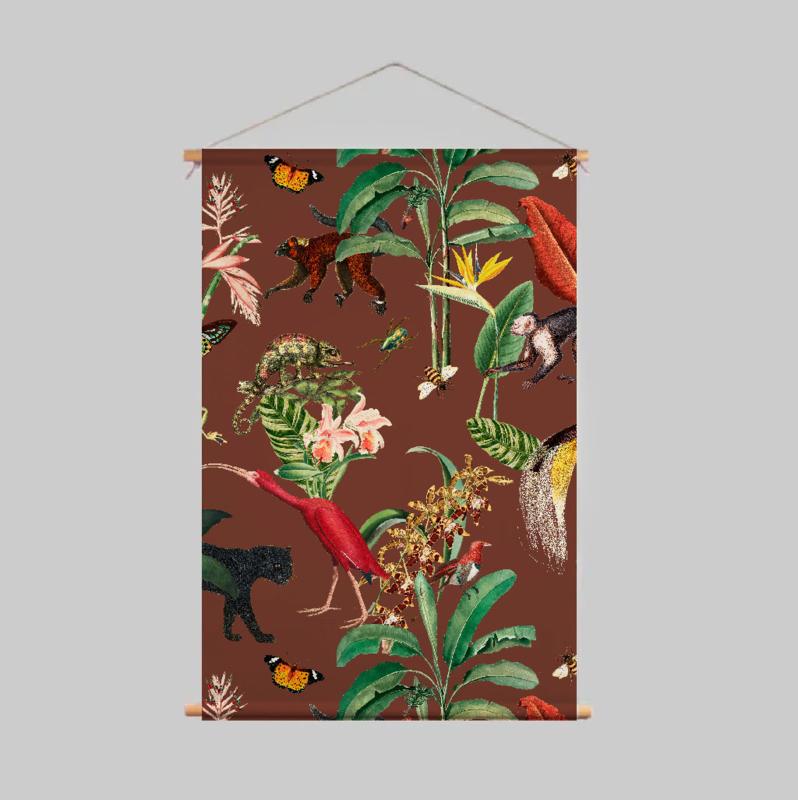 Textielposter - KINGDOM ANIMALIA burnt sienna