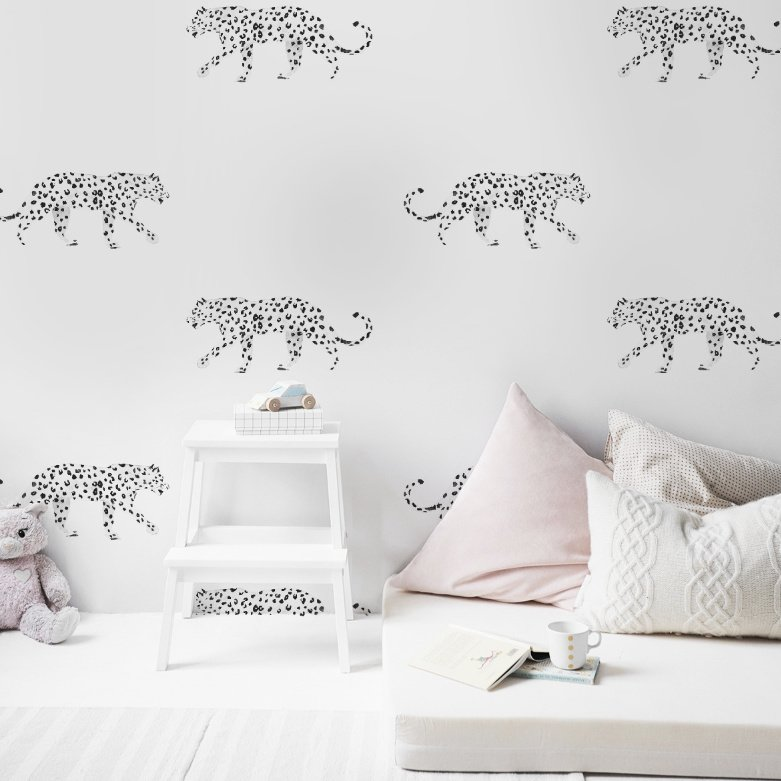 Leopard Wallpaper - LEOPARD black/white