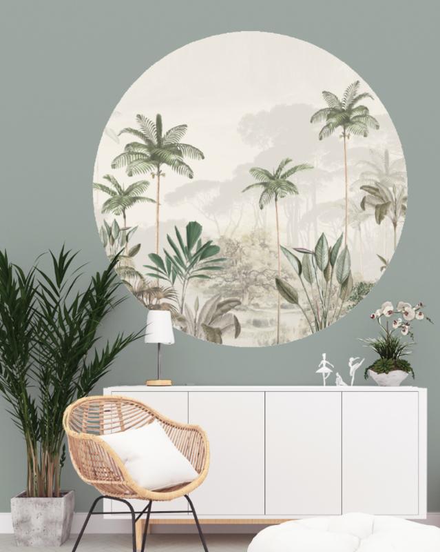 Round wall sticker - Tropical Wilderness beige/green