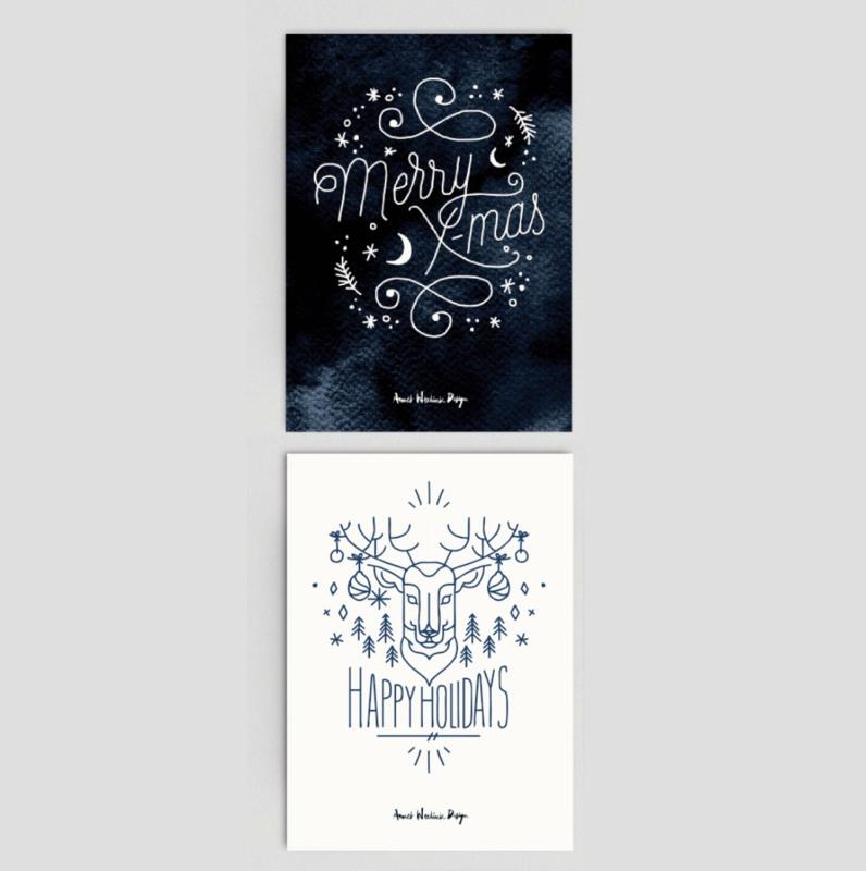 Kerstkaarten - SCANDINAVIAN set van 2 kaarten