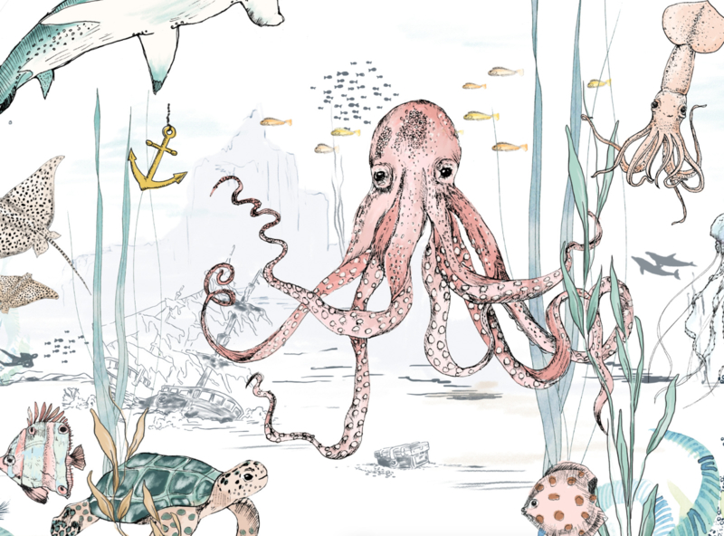 Ronde wandsticker - Underwater Wonders