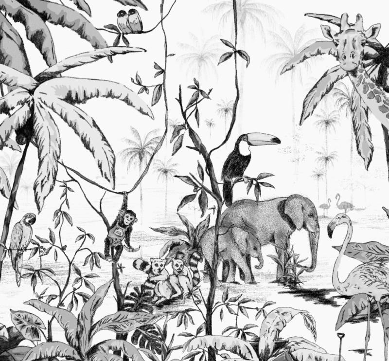 Gepersonaliseerde Poster - Jungle zwart/wit