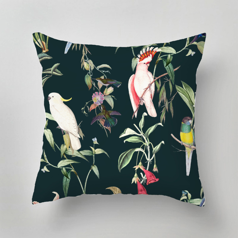 Kussen - BIRDS OF PARADISE deep teal