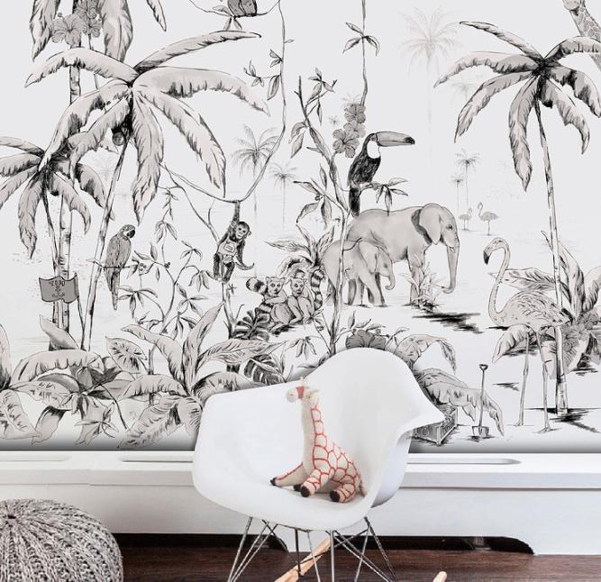 Jungle Wallpaper - Full wall sized image - JUNGLE black/white