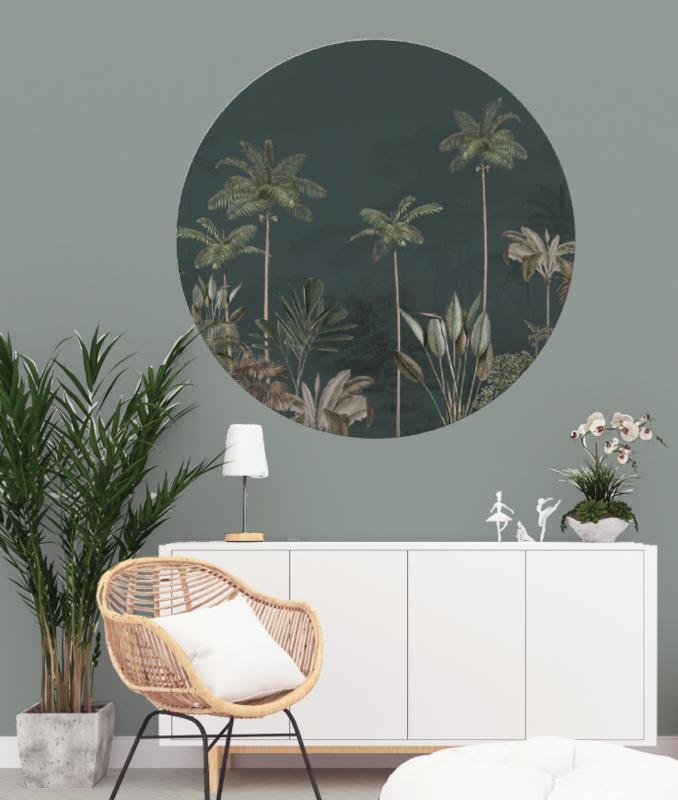 Round wall sticker TROPICAL WILDERNESS dark