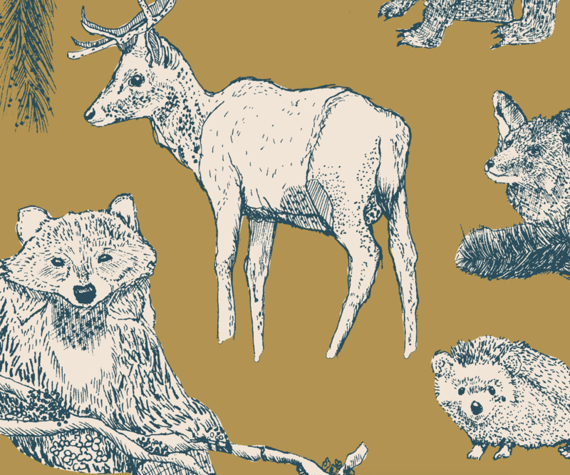 Animal Wallpaper - FOREST FRIENDS gold/ teal
