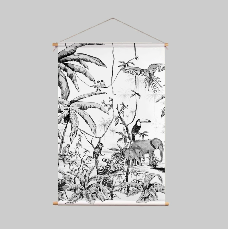 Textielposter - JUNGLE zwart/wit