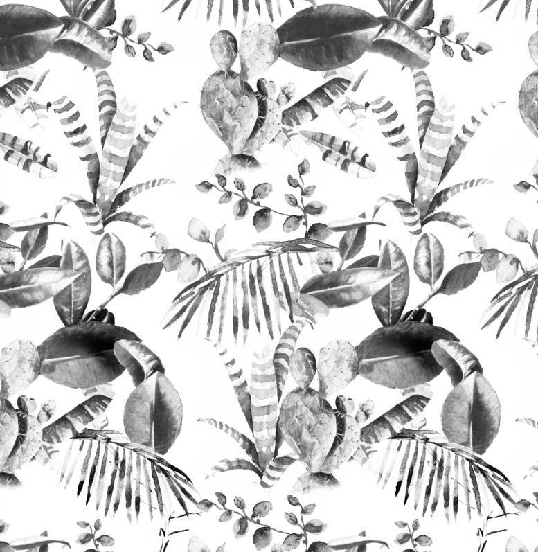 Jungle Behang - CACTUS zwart/wit