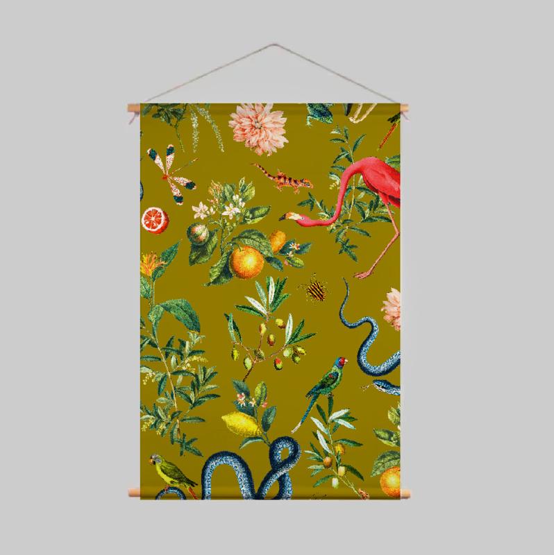 Textile Poster - GARDEN OF EDEN olive gold