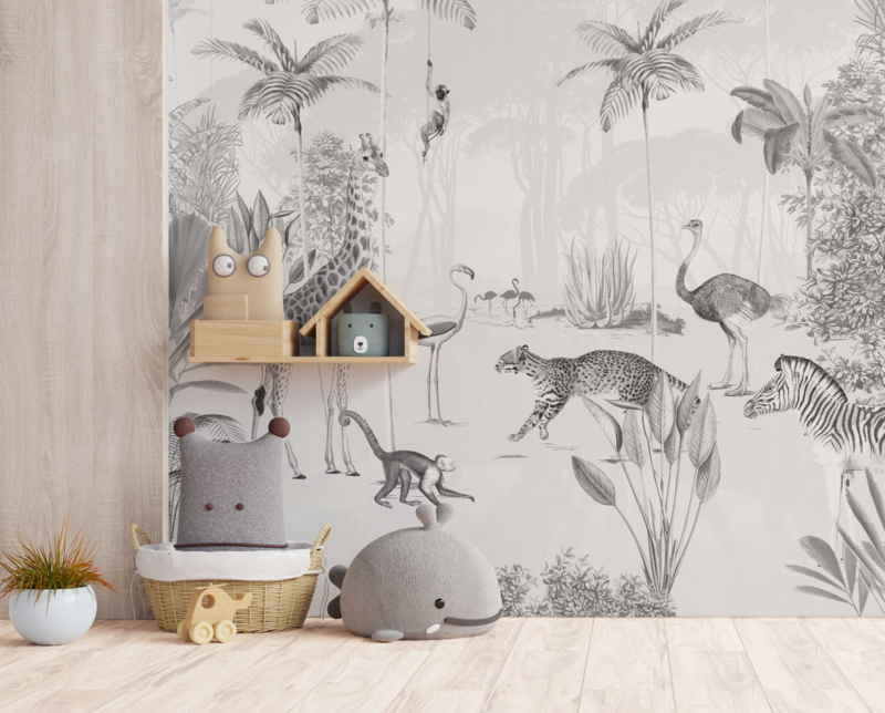 Jungle behang - Wandgrote afbeelding - WILDLIFE'S PLAYGROUND zwart wit