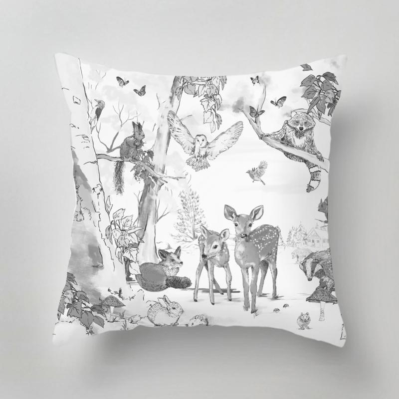 Tuinkussen -  Magical Forest zwart/wit