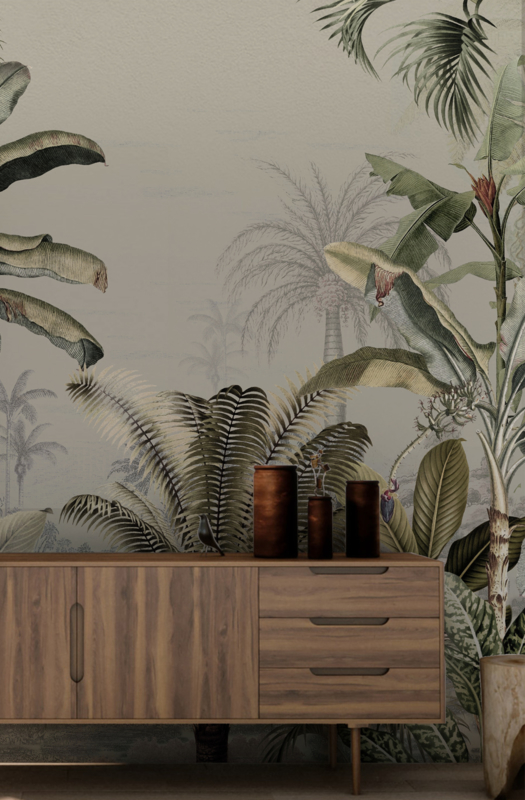 Behang - Wandgrote afbeelding - DREAMY JUNGLE GREEN