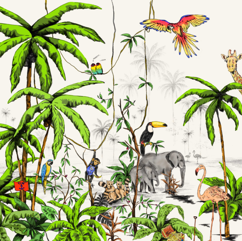 Jungle Behang - Wandgrote afbeelding - JUNGLE kleur