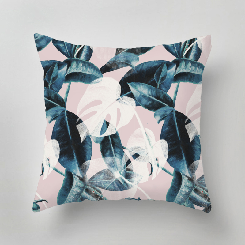 Outdoor Pillow - PINK LEAVES