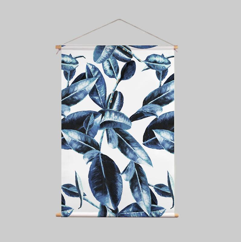 Textielposter - BLUE LEAVES