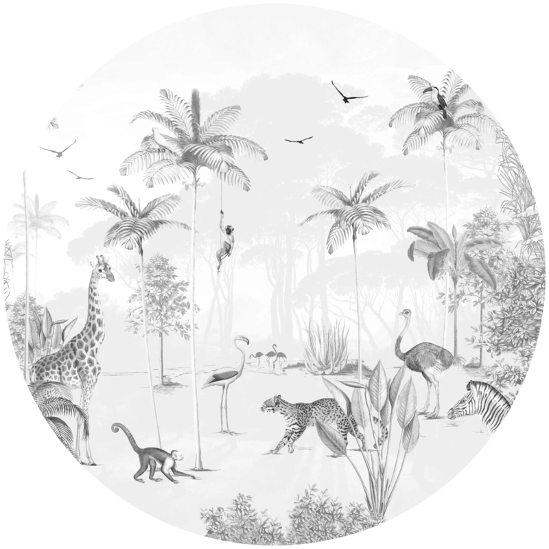 Round wall sticker - Wildlife's Playground black and white