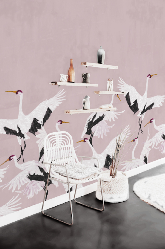 Wallpaper - Full wall sized image - STORK PINK