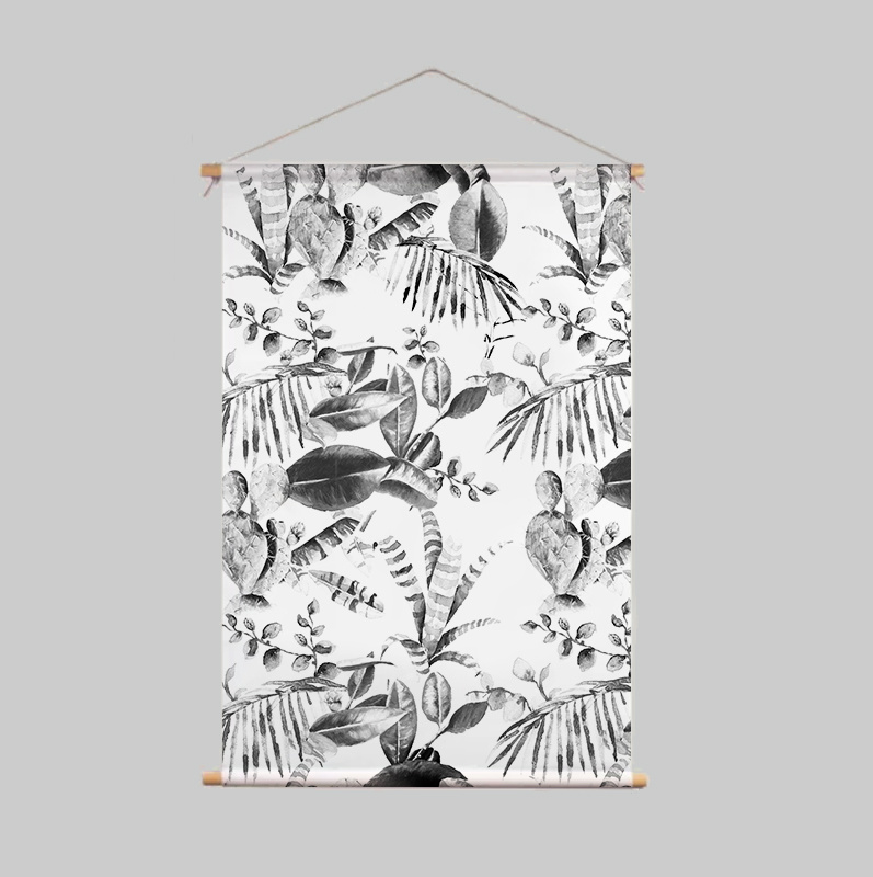 Textielposter - CACTUS zwart/wit