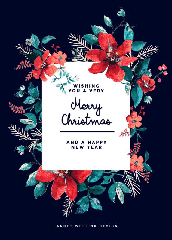 Kerstkaarten - HAPPY HOLIDAYS set van 8 kaarten