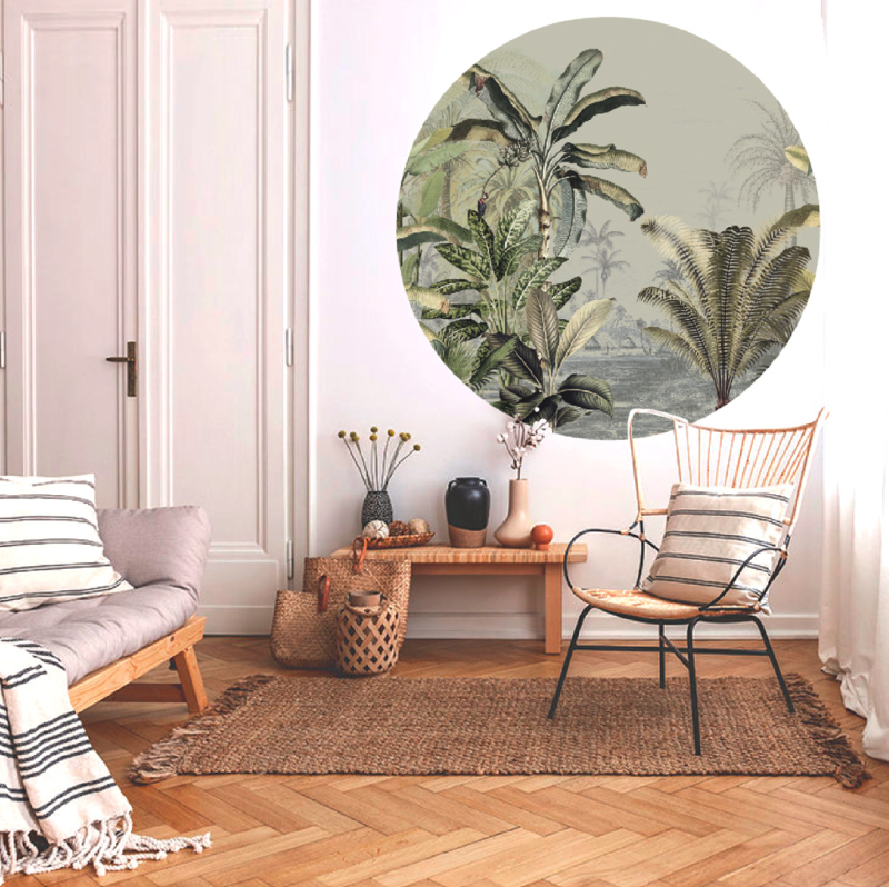 Ronde wandsticker - Dreamy Jungle Green
