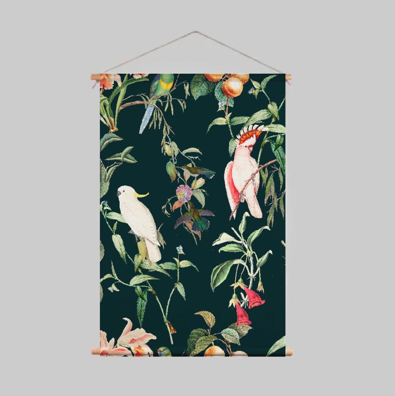 Textielposter - BIRDS OF PARADISE deep teal