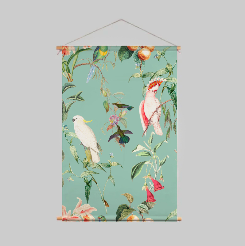Textile Poster - BIRDS OF PARADISE sea mint