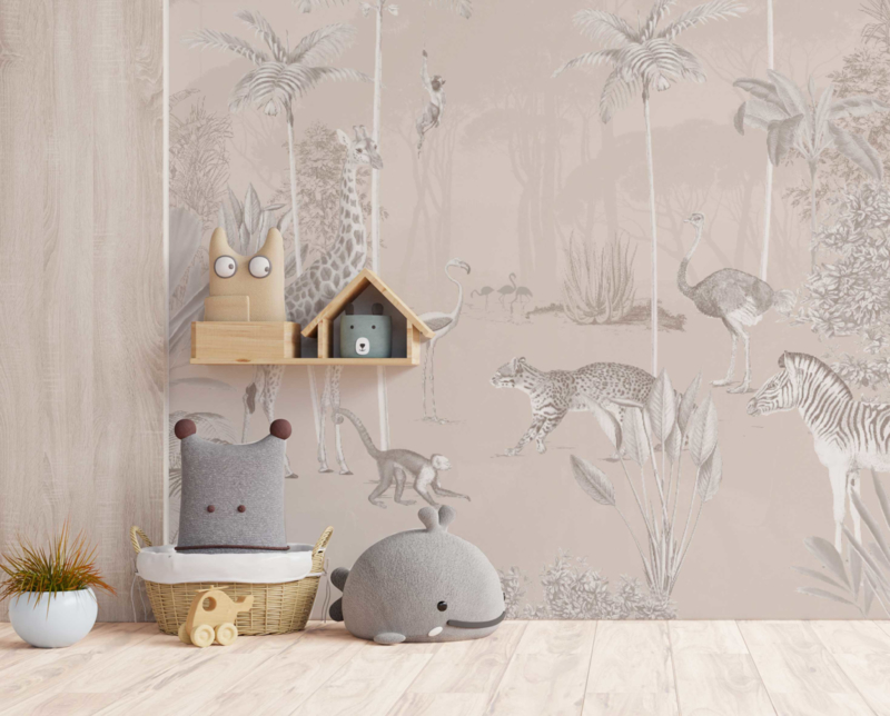 Jungle wallpaper - Full wall sized image - WILDLIFE'S PLAYGROUND soft
