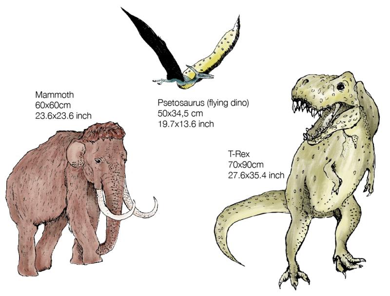 Set van 3 wandstickers Prehistoric