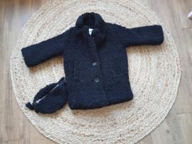Zwart Teddy coat met tasje