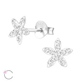 Zilveren kinderoorbellen bloem