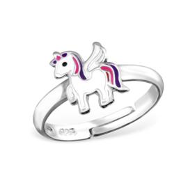 Zilveren verstelbare kinderring unicorn