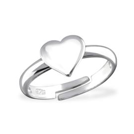 Zilveren ring met hart