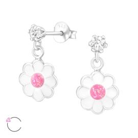 Zilveren kinderoorbellen bloem met Swarovski