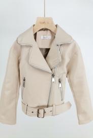 Beige leatherlook jasje met riem