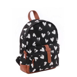 Kidzroom Black & White Rugzak hearts black