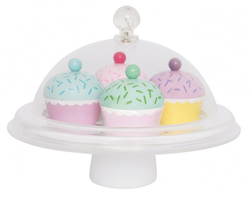 Houten speelset cupcakes met stolp jabadabado